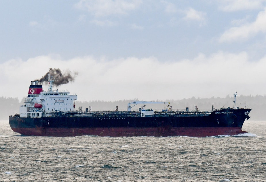 caption: The High Mercury oil tanker steaming toward the Port of Vancouver, B.C., through prime orca habitat in Haro Strait in 2017.
