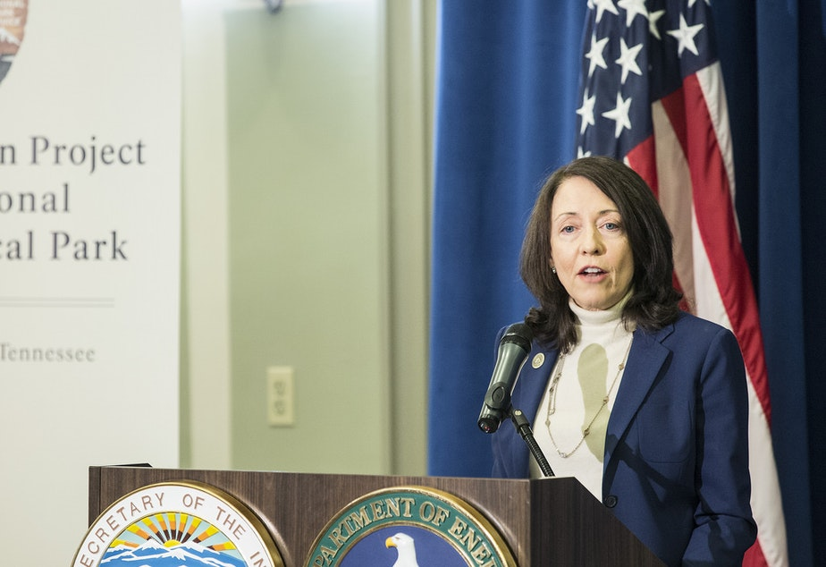 U.S. Senator Maria Cantwell of Washington addresses a gathering of park supporters and the news media at the South Interior Building in downtown Washington, D.C., on November 10, 2015.
