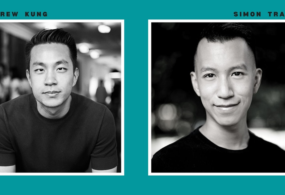 caption: Photographer Andrew Kung (left) and storyteller Simon Tran.  Kung's portrait series, The All-American, explores and re-imagines Asian masculinity. See the series at apkung.com/the-all-american
