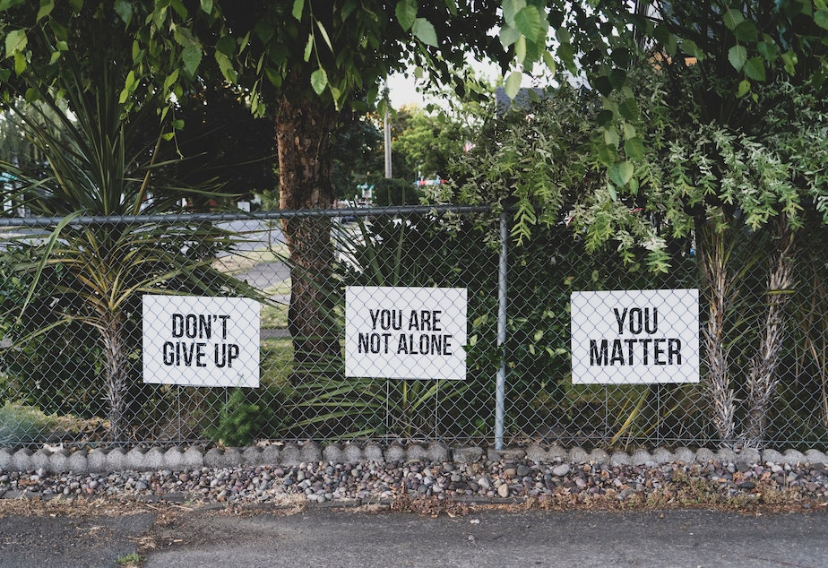 caption: Signs on a fence that contain positive messages to inspire hope.
