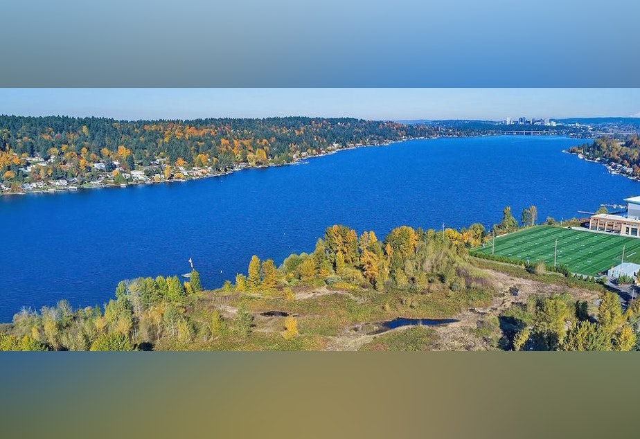 caption: The Quendall Terminals Superfund site (foreground) and Lake Washington with Mercer Island and Seattle in the background