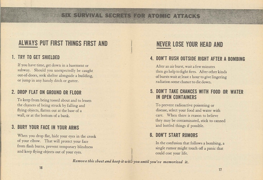 "Six survival secrets for atomic attack, 1950, from pamphlet ""Survival Under Atomic Attack"" published by the National Security Resources Board."