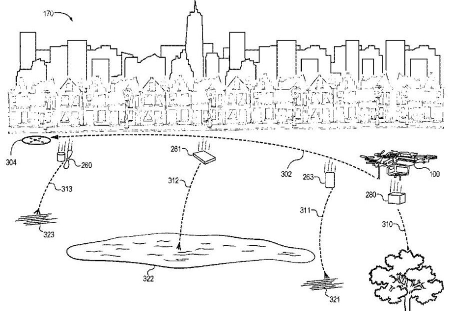 caption: In this patent application diagram, an Amazon drone jettisons pieces of itself in relatively safe locations to reduce potential harm when it crashes