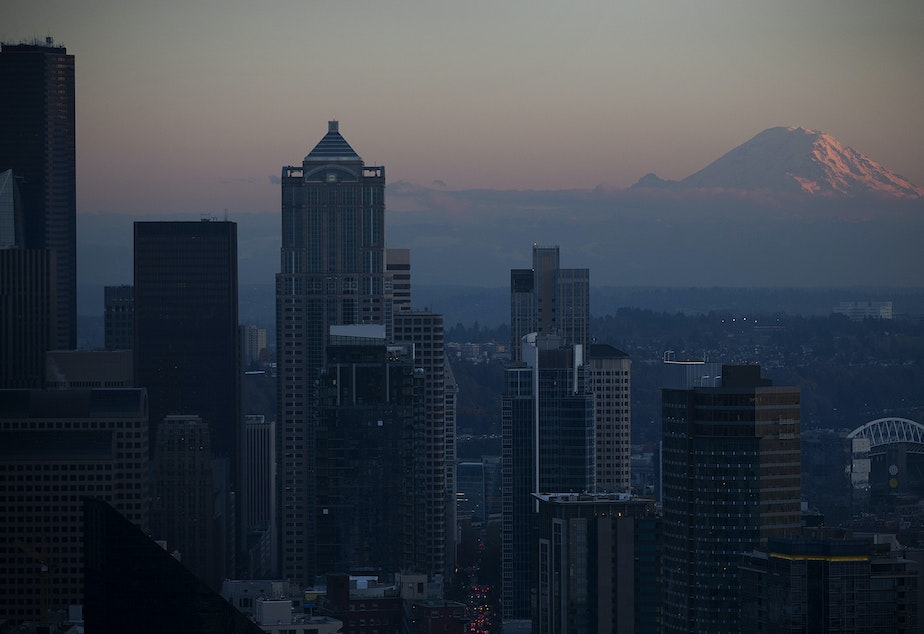 caption: A view of Mount Rainier is shown from the Space Needle on Monday, November 6, 2017, in Seattle.