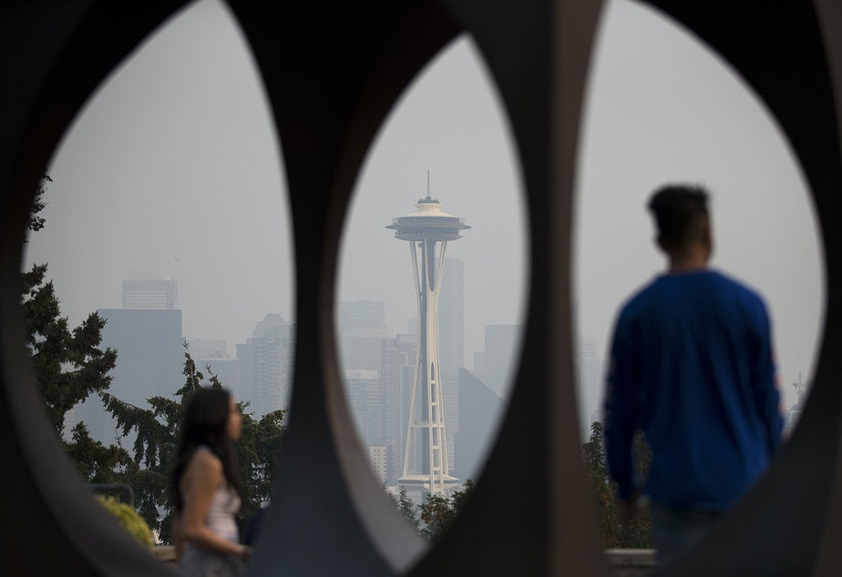 Seattle's Space Needle in the smoke