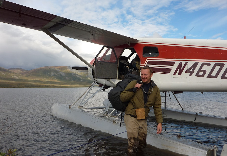 Host Chris Morgan being picked up by float plane in an incredibly isolated area of the Brooks Range in northern Alaska.