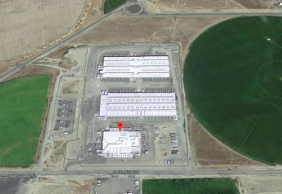caption: This Amazon data center site outside Boardman is one of seven operating or planned complexes in northeastern Oregon.