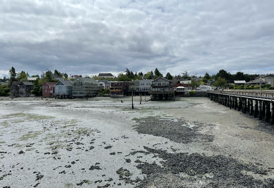 caption: Businesses on Coupeville's Front Street, as seen from its historic wharf