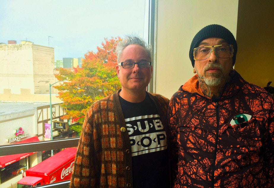 caption: Kurt B. Reighley and Mark Mitchell together at the KUOW studios.