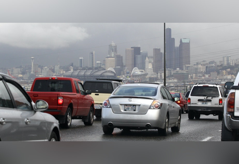 The Seattle skyline behind heavy traffic on northbound Interstate 5 in 2011.