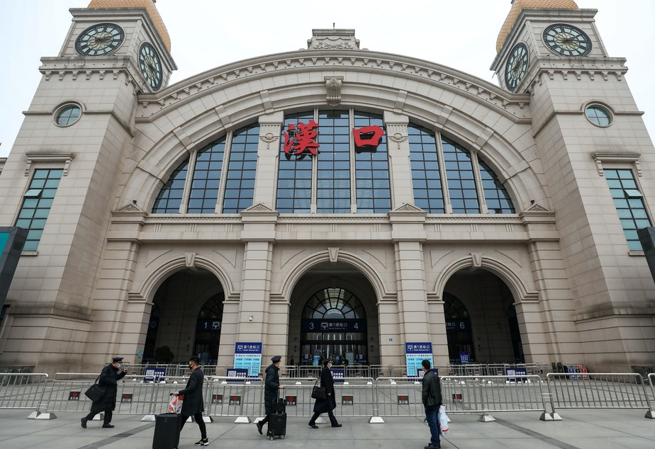 caption: The Hankou Railway Station in Wuhan was closed as part of a shutdown on public transportation — an effort to control the spread of what's being called the Wuhan coronavirus.