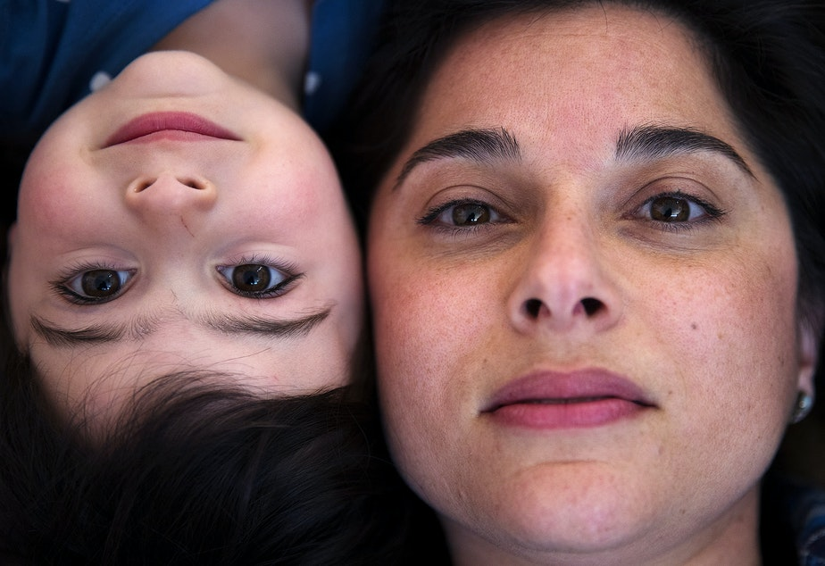 """caption: Misa Corso poses for a portrait with her 3-year-old daughter Nova Clement Corso. """"I was feeling so overwhelmed. On the third day, I'm really losing it, and I called my therapist. I could barely talk on the phone, I could barely breathe. And she said, 'I'm coming over.' Part of it was I didn't want her to cry. I just felt so responsible for her emotional state. I just wanted her to be at peace all the time."""""""