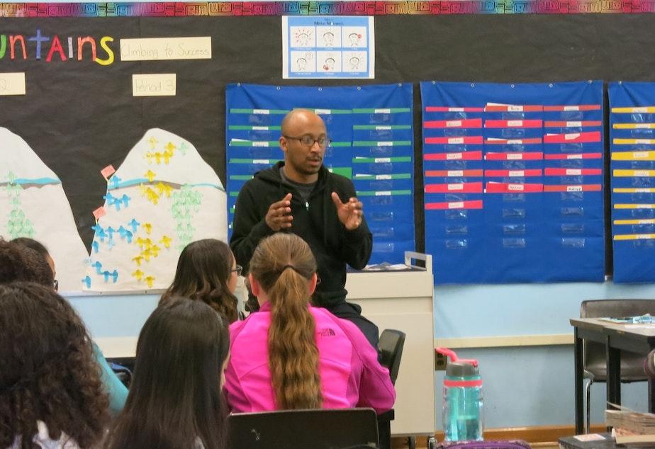 caption: Mr. Drego Little teaches a class at Rainier Scholars