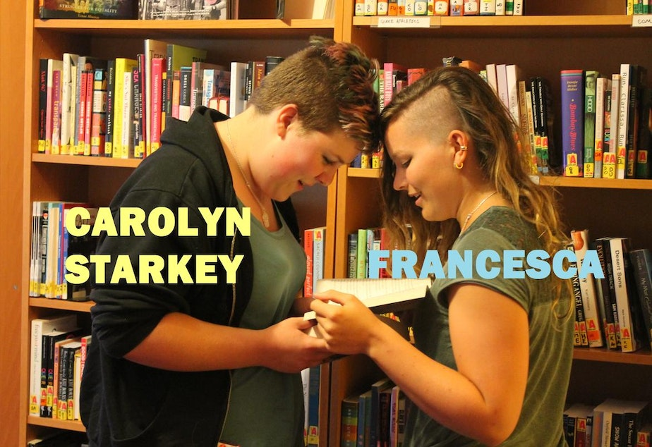 """caption: Starkey identifies as lesbian. """"I met my girlfriend at Lambert House,"""" she said, """"so I'm very partial to it. It's just, it's a safe place. It feels like home."""""""