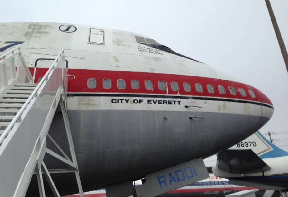 caption: The nose of the original 747 at the Museum of Flight.