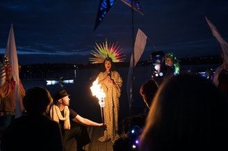 The Luminata lantern parade begins with a performance on Thursday, September 21, 2017, at Green Lake in Seattle.