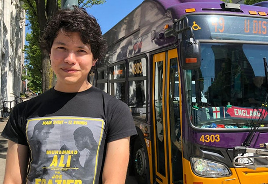caption: Filmmaker, writer, photographer, and King County Metro Transit bus driver Nathan Vass.