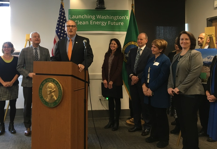 Washington Gov. Jay Inslee unveils a package of clean-energy proposals in Seattle.