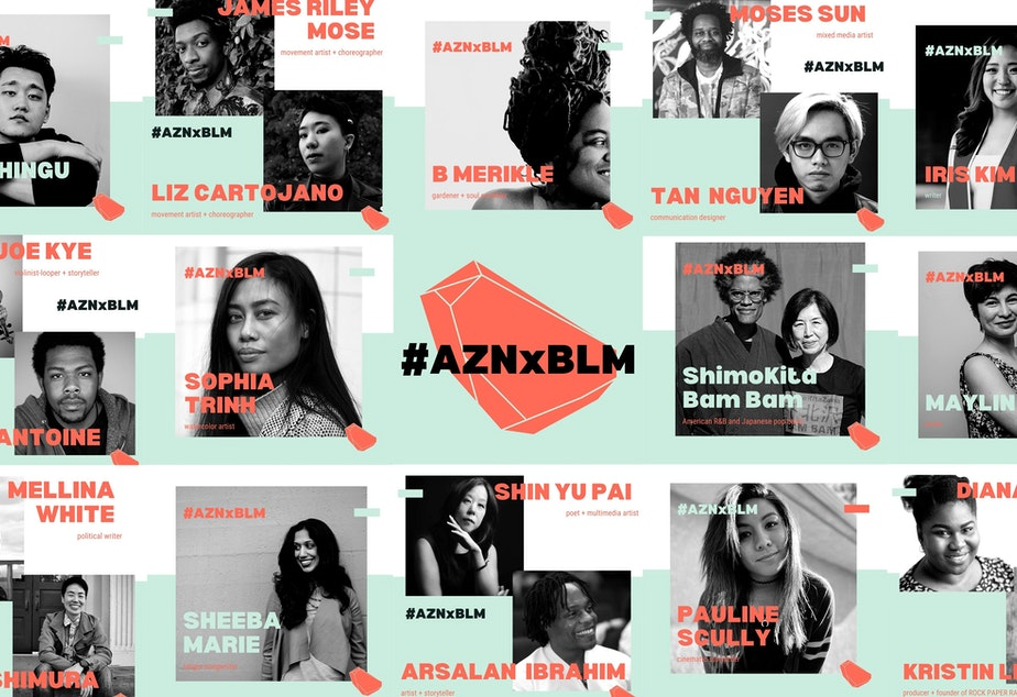 caption: #AZNxBLM is Kristin Leong's multimedia project fueled by artists of color from across the U.S.. The project calls for solidarity between AAPI communities and the BLM movement. Learn more and explore the 14 original works created for #AZNxBLM at RockPaperRadio.com.