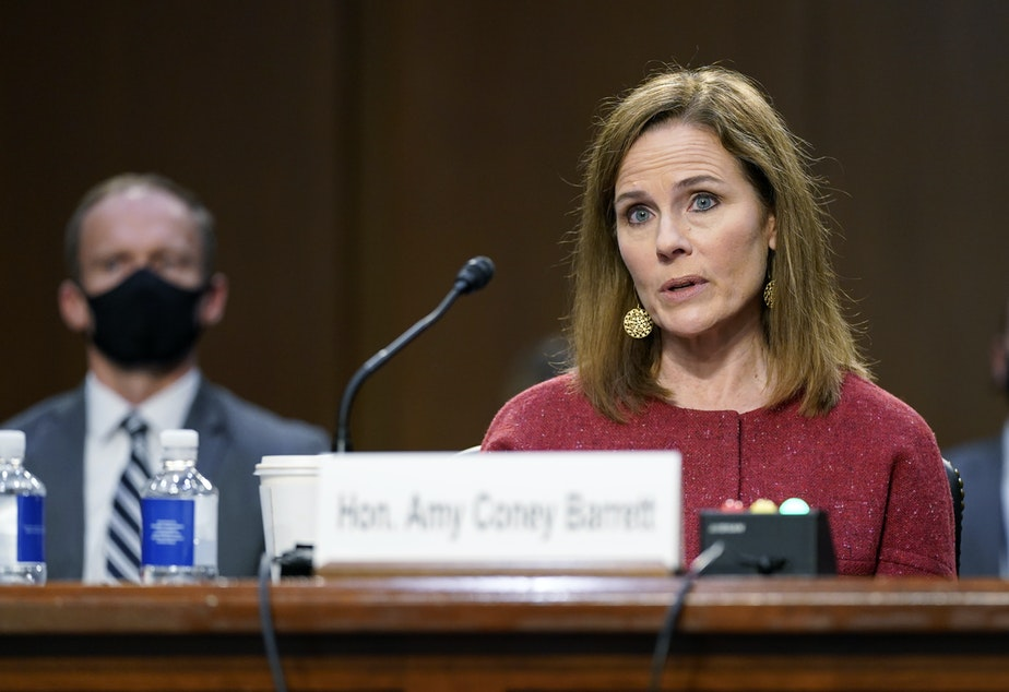 caption: Supreme Court nominee Amy Coney Barrett speaks during a confirmation hearing before the Senate Judiciary Committee on Tuesday.