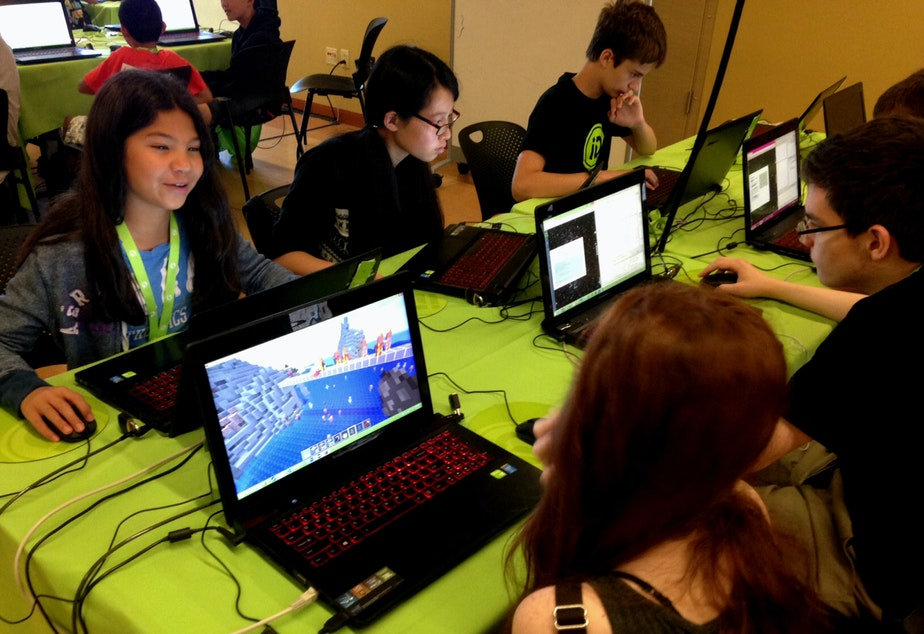 caption: Students at a Minecraft camp at the University of Washington. Minecraft is mostly taught at summer camps for the time being -- how to apply it to the classroom is another question.