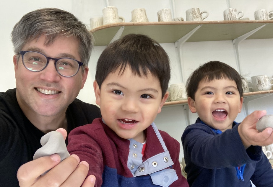 caption: Bryan Ohno and his grandkids