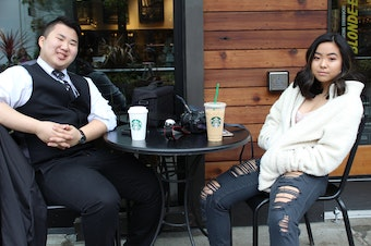 The author (left) with his sister. They were adopted from South Korea by white parents.