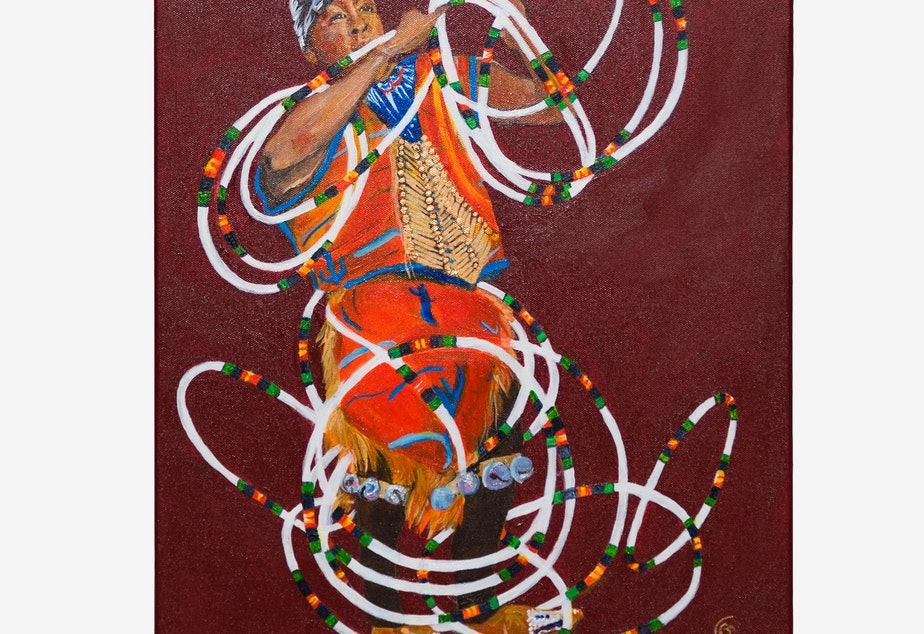 """Hoop Dancer,"" acrylic painting by Lisa Villanpando Anderson (Esselen Nation of Monterey County, California)"