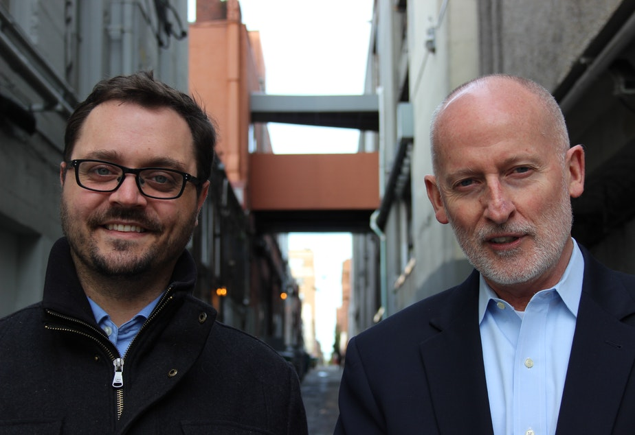 Seattle City Council position 8 candidates Jon Grant and Tim Burgess.