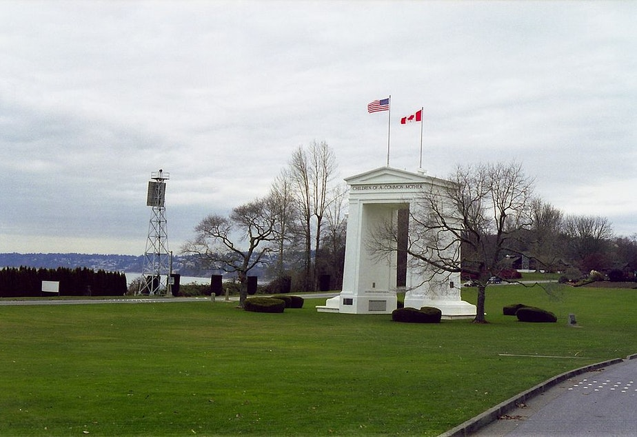 The Peace Arch memorial monument in Blaine, Washington connects the U.S. and Canada as a port of entry.