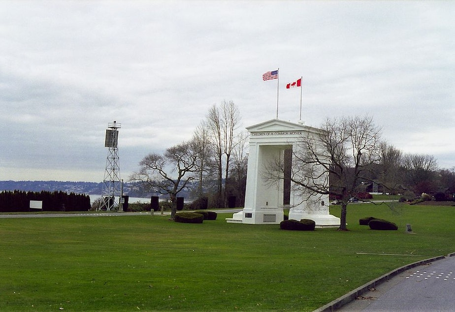 caption: The Peace Arch memorial monument in Blaine, Washington connects the U.S. and Canada as a port of entry.