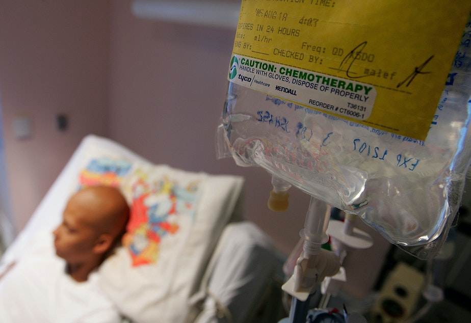 caption: Eighteen-year-old cancer patient Patrick McGill lies in his hospital bed while receiving IV chemotherapy treatment for a rare form of cancer at the UCSF Comprehensive Cancer Center Childrens Hospital Aug. 18, 2005 in San Francisco, Calif. (Justin Sullivan/Getty Images)