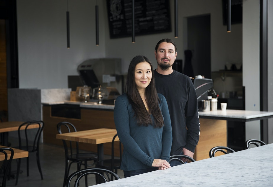 caption: Co-owners of Off the Rez Cafe, Cecilia Rikard, left, and Mark McConnell, pose for a portrait on Tuesday, October 8, 2019, at the cafe's new location inside the Burke Museum of Natural History and Culture in Seattle. Off the Rez Cafe opens on Saturday, October 12th.