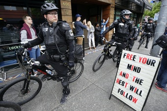 Seattle Police officers during May Day march, 2015.