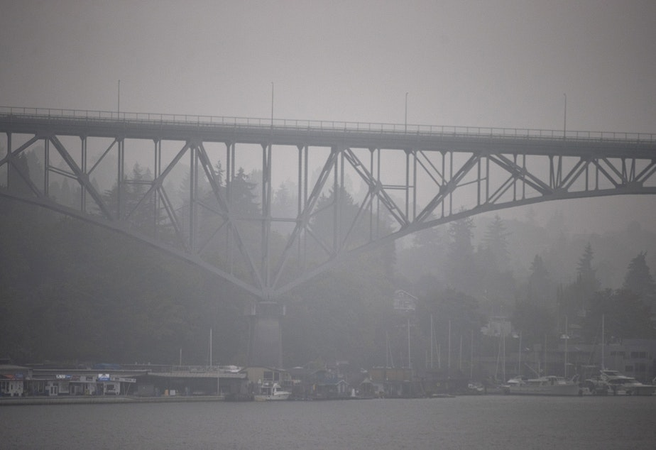caption: The Aurora bridge is obscured by smoke from wildfires burning in California and Oregon on Monday, September 14, 2020, in Seattle.