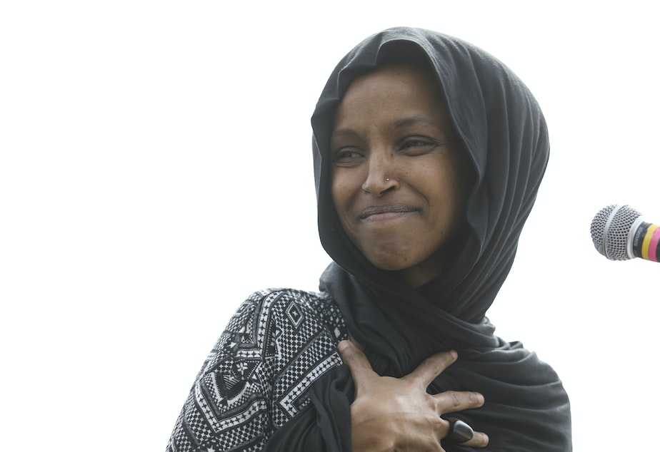 Rep. Ilhan Omar (D-Minn.) attends a Youth Climate Strike on March 15 in Washington. On Thursday, the <em>New York Post</em> incited criticism by featuring a partial quote by Omar with an image of the Sept. 11 terrorist attack.