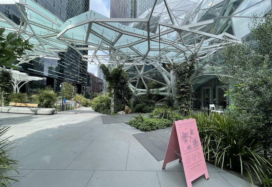 caption: Willmott's Ghost, a restaurant in the base of Amazon's Spheres