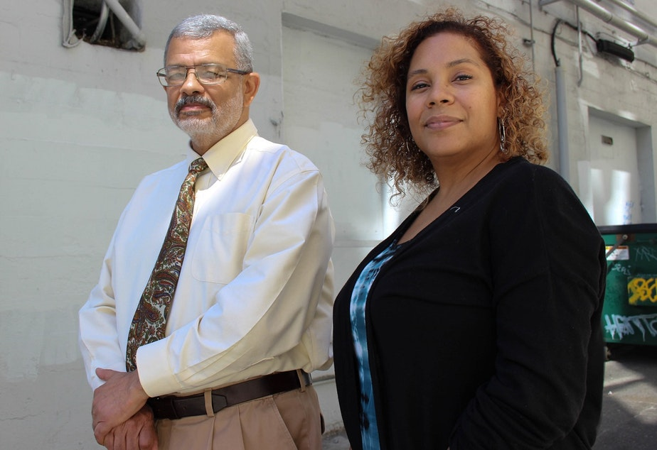 caption: Dr. Bob Hughes of Seattle University and Yoshiko Harden of Seattle Central. Hughes and Harden were meeting at a Starbucks on Broadway in Seattle when someone came in and unfurled a string of racial slurs and explicitives at Harden.