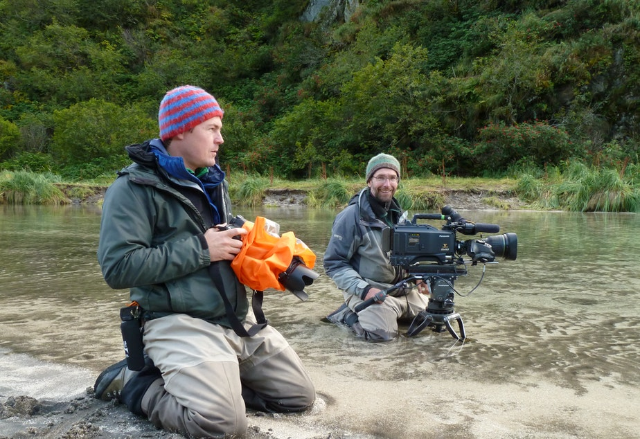 Jeff Wilson and Mark Smith filming bears with 'The Wild' host Chris Morgan.