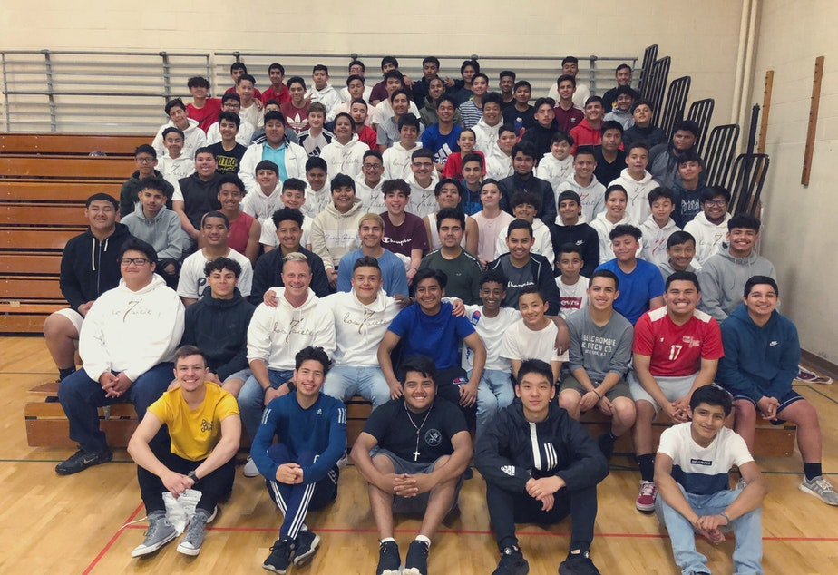 caption: Los Siete started as a group for seven middle school boys at Chinook Middle School. Since then, the group has grown to about 150 students.