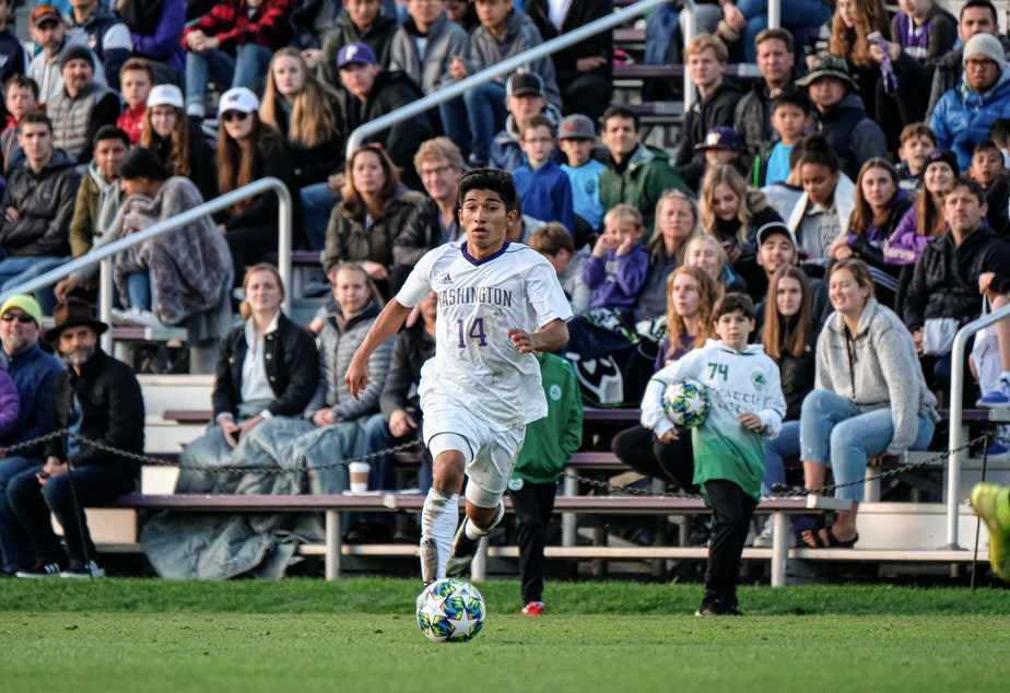 Christian Soto from Des Moines, WA plays for the University of Washington men's soccer team