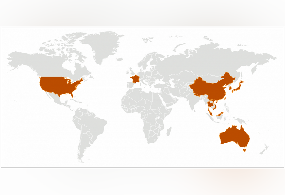 caption: A website of the Centers for Disease Control shows countries that have confirmed cases of the new coronavirus.