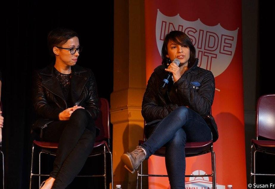 caption: Kristin Leong and Monica Guzman at The Rainier Arts Center
