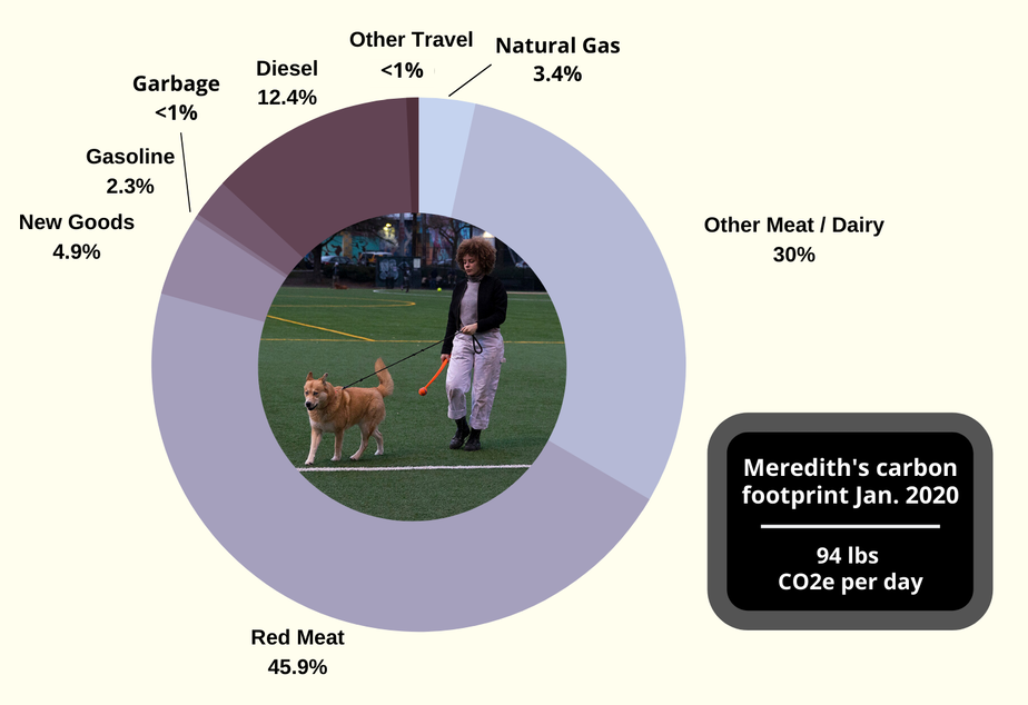 caption: Contestant Meredith Cooper's January (baseline) carbon footpring is dominated by food.
