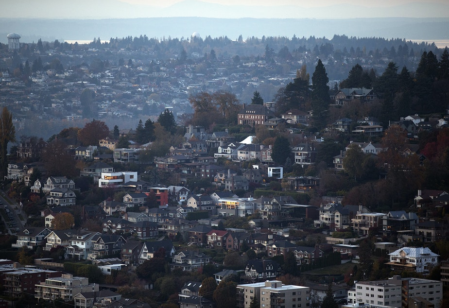 Homes in Queen Anne are shown from the Space Needle on Monday, November 6, 2017, in Seattle.