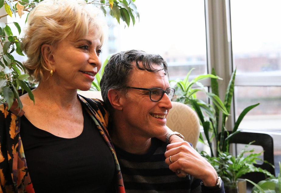 caption: Isabel Allende and Record host Bill Radke.