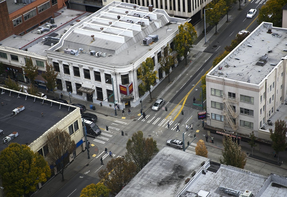 The intersection of University Way Northeast and Northeast 45th Street is shown on Monday, October 5, 2019, from UW Tower in Seattle.