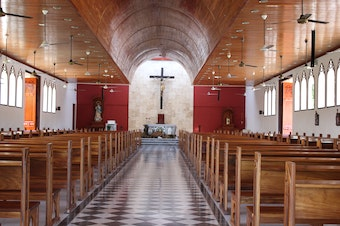 The inside of a church.