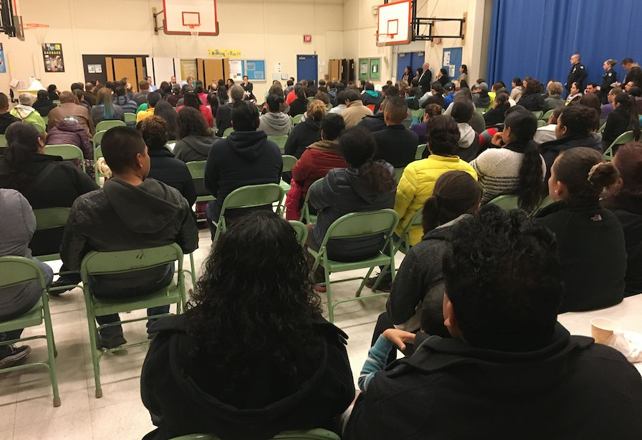 Immigrants packed a gym in Bellevue on Thursday night to talk about Trump's immigration plan.