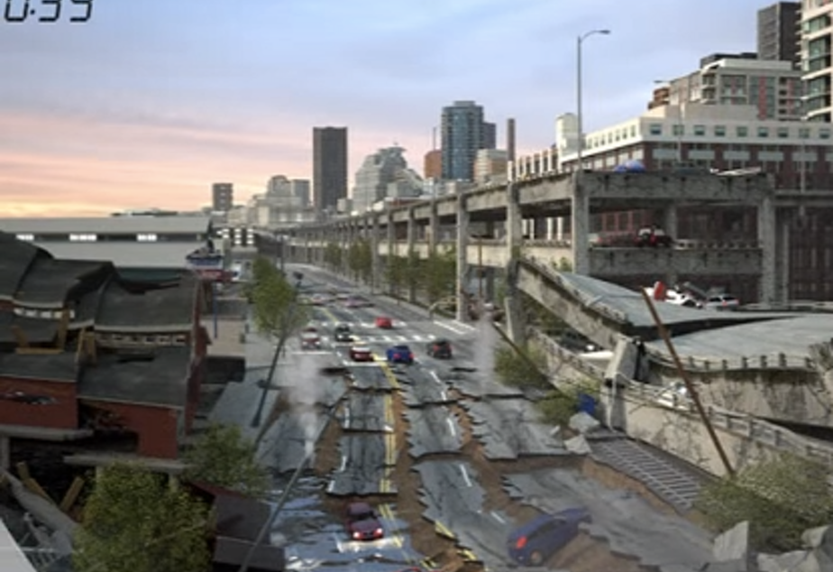 A scene from a simulation by the Washington State Department of Transportation of what could happen if a massive earthquake hits the Alaskan Way Viaduct.
